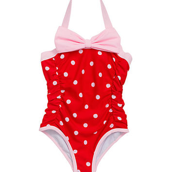 Kate Spade Girls' Polka Dot One-Piece Fairytale Red/ Pastry Pink