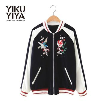YIKUYIYA New Fashion Women Jacket 2017 Long Sleeve Slim Coat Casual Black Contrast Floral Embroidery Velvet Bomber Jacket
