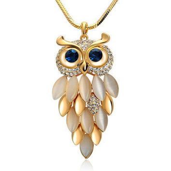 Adorable Owl Crystal Swarovski Elements Necklace