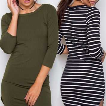 Sandy Basic Dress Set - Olive & Black Striped