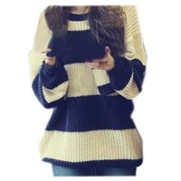 CA Fashion Women's Classical Stripe Knitting Pullover Sweater S to M