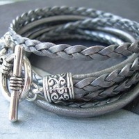 Womens Leather Bracelet , Metallic Gray-Silver, Triple Wrap,