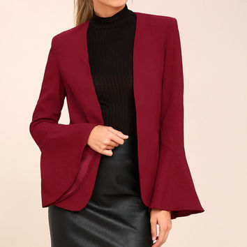 Night Visions Burgundy Cropped Blazer