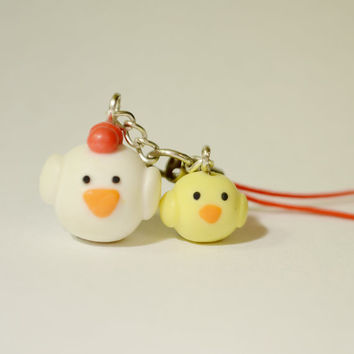 Cute Round Chicken and Chick Polymer Clay Phone Charm - Easter Polymer Clay Accessories