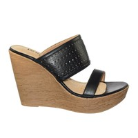 Callista10 by Blossom Perforated Faux Wooden Platform Wedge Dress Sandal