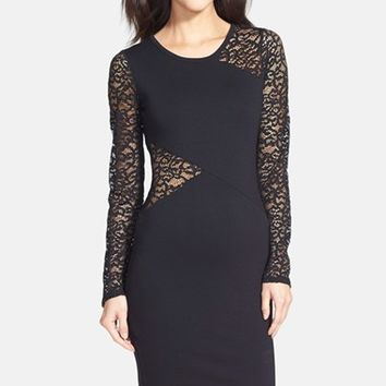 Women's BCBGMAXAZRIA 'Jordan' Lace Inset Body-Con Dress,