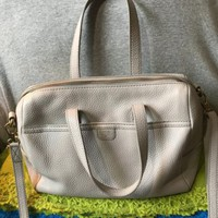 Fossil Light Grey Pebble Grain Leather Hobo Tote Zip Shoulder Bag Crossbody