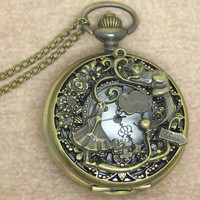 Alice in wonderland pocket watch necklace,with antique brass rabbit pendant