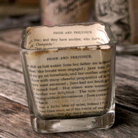 Jane Austen book candle hoder--book votive holder--gifts for writers--gifts for readers--Jane Austen---Book lovers---gifts for writers