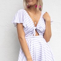 Be The One Gray Striped Knot Romper