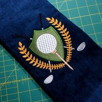 Golf Towel Premium Embroidered Crest Design Can Be Personalized | PinkCloudsAndBabyBlue - Accessories on ArtFire