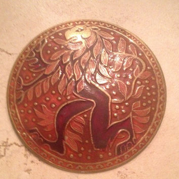 Vintage Brass Pendant Medallion Indian Red Enamel Lion Jewelry
