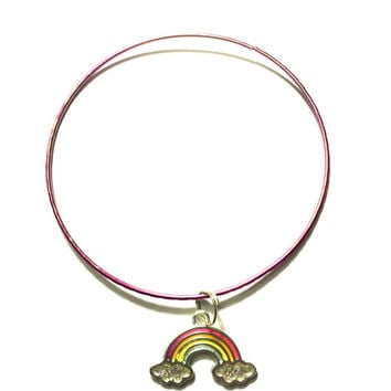 Rainbow Charm Alex and Ani Inspired Stackable Bangle Bracelet