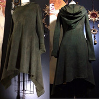 Winter Fleece Hooded Dress Hand Dyed in Rustic Dark Olive Green M/L
