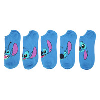 Disney Lilo and Stitch Faces No-Show Socks 5 Pair