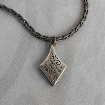 Indian Tribal Pendant Necklace Unusual Square Rope Chain Vintage Jewelry