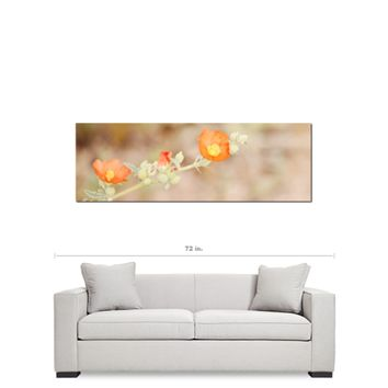 Desert Flowers - Large Canvas - Floral Wall Art - Southwest Canvas - Orange Tan Green - Wild Flowers Photo - 20 x 60 Canvas
