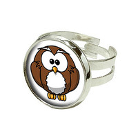 Owl Love - Birds Silver Plated Adjustable Novelty Ring