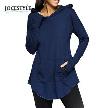 Women Hoodies With Caps Fashion Casual Sweatshirts Tunic Vintage Long Sleeve Pocket Shirt Outerwear For Autumn Spring