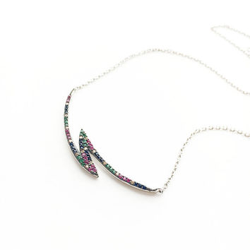 Cubic Zirconia Bar Necklace • Lightning Bolt Necklace • Curved Bar Necklace • Colorful Necklace • Abstract Necklace • Bar Pendant • Mom Gift
