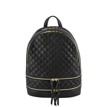 Black Metallic Quilted Backpack