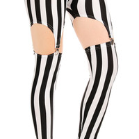 Black and white stripes garter leggings size medium