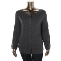 Karen Scott Womens Plus Knit Heathered Cardigan Top
