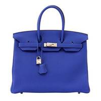 HERMES BIRKIN 35 bag ELECTRIC BLUE palladium togo leather