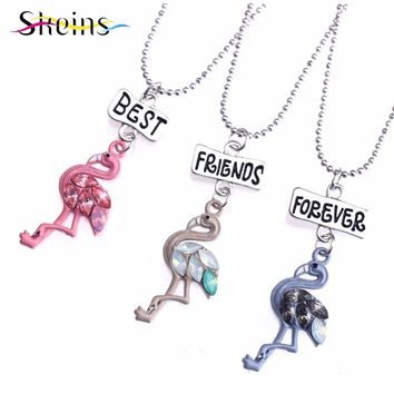 SKEINS Best Friends Pink Flamingo Pendant Women Kids Girl BFF Necklaces For 3 Cartoon Metal Enamel Friendship Necklaces Set