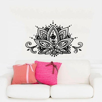 Wall Decal Vinyl Sticker Decals Art Home Decor Mural Mandala Ornament Indian Geometric Moroccan Pattern Yoga Namaste Lotus Flower Om AN163