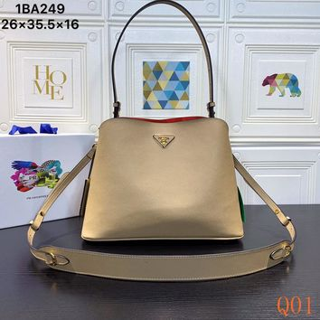 HCXX 19Aug 1000 Prada Fashion Tote Matinee Saffiano Leather Duoble Bag Shopper 26-35.5-16cm