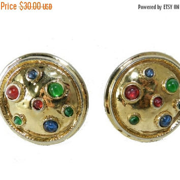 FLASH SALE Carolee Dome Earrings, Carolee Poured Glass Earrings, Designer Signed Earrings, Vintage Fashion Earrings, Vintage Jewelry