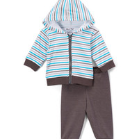 Turquoise & Gray Stripe Hoodie & Dark Gray Pants - Infant