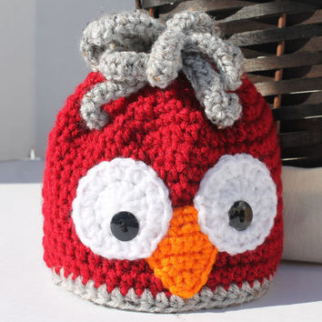 Crochet Hat - Childrens Animal Hat - Owl Hat - Red and Grey - Newborn to 6 months