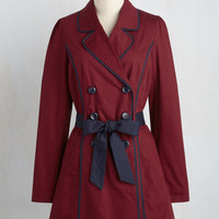 East Coast Tour Trench in Burgundy | Mod Retro Vintage Coats | ModCloth.com