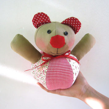 Fabric bear, plush bear, teddy bear -sweet softie stuffed toy birthday gift for boy and girl, shabby chic,handmade,red, ball bear, dots bear