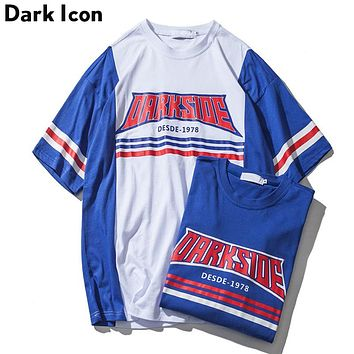 Numbers Printed Stripe on Sleeve Over sized Tee Shirts Men Round Neck Men's T-shirt Blue Red Cotton