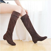Fashion Women Spring Boots Over Knee High Long Boots Black Brown Flat Suede Shoes = 1946088964