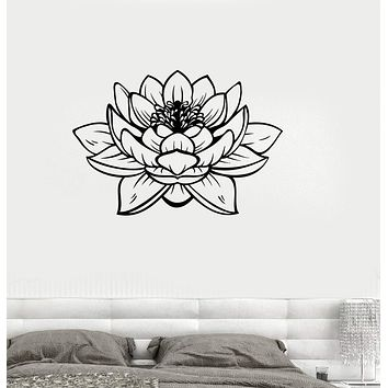 Vinyl Wall Decal Lotus Blossom Flower Yoga Studio Buddha Stickers Unique Gift (ig3233)