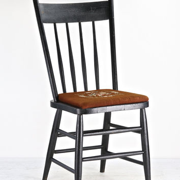 Vintage Rustic Dining Chair, Black Dining Chair With Needlepoint Cushion, Vintage Farmhouse  Chair, Dining Chair, Spindle Back Chair