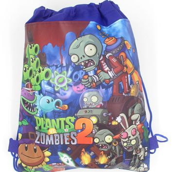 6Pcs New Plants vs Zombies Drawstring Boys Girls Cartoon School Bag Children Printing School Backpacks for Birthday Party Gifts