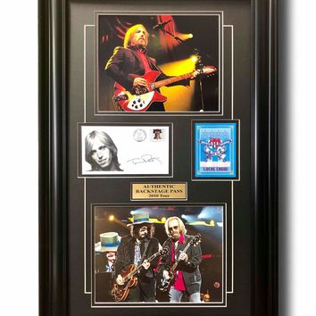 TOM PETTY FRAMED WORLD TOUR BACKSTAGE PASS & FACS SIGNATURE COLLAGE COA 16X26 HEARTBREAKERS