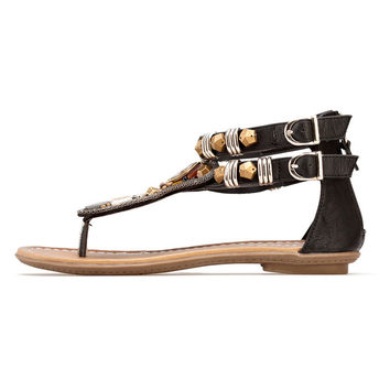 Ethnic Gladiator Style Leather Flat Sandals