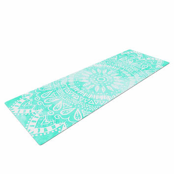 "Nika Martinez ""Boho Flower Mandala in Teal"" Aqua Green Yoga Mat"