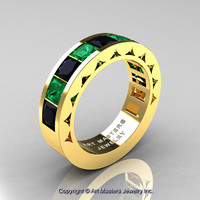 Mens Modern 14K Yellow Gold Princess Black Diamond Emerald Channel Cluster Wedding Ring R274-14KYGEMBD