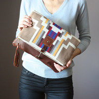 Pendleton wool and Leather fold over clutch, fold over bag, fold over purse, Pendleton  clutch, leather charm , Pendleton bag