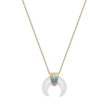 Mother Of Pearl Tiger Tooth Necklace with Turquoise