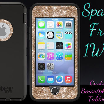 "OtterBox Defender Series Case for 4.7"" iPhone 6 - Custom Glitter Case for 4.7"" iPhone 6 - Black/Gold"