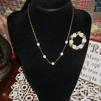 Vintage 1950's Van Dell Jewelry 3 piece Ensemble: Brooch, Earrings, and Necklace 12kt G.P. lovely and delicate set.