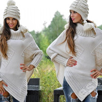 Top Woman Thick Heavy Winter Poncho Jumpers Sweater Size 8 10 12 14 Maternity = 1920509124